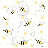 Seamless Pattern With Bees Stock Photography