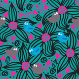 Seamless Pattern With Bird And Flower Stock Photos