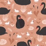 Seamless Pattern With Black Swans And Brood Of Cygnets Floating In Pond Or Lake Among Water Lilies And Reeds. Backdrop Stock Photos