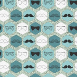 Seamless Pattern With Bow Ties And Mustaches Stock Images