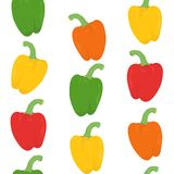 Seamless Pattern With Bright Peppers Stock Image