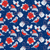 Seamless Pattern With Bullfinches,gifts, Poinsettia Flowers And Royalty Free Stock Image