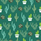Seamless Pattern With Cactus Plants On Green Background Royalty Free Stock Photography