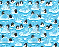 Free Seamless Pattern With Cartoon Penguins Create Ice Sculptures Royalty Free Stock Images - 132978619
