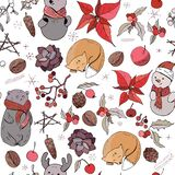Seamless Pattern With Christmas Vintage Decoration And Forest Animals. New Year Retro Symbols On White. Orange,brown And Red Color Stock Photography