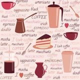 Seamless Pattern With Coffee Related Elements Stock Photos