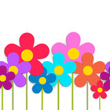 Seamless Pattern With Color Flowers Isolated On White. Vector EP Royalty Free Stock Image
