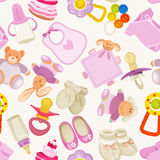 Seamless Pattern With Colorful Baby Items For Newborn Girl Royalty Free Stock Photography