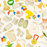 Seamless Pattern With Colorful Baby Items. Neutral Design Stock Photo