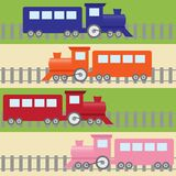 Seamless Pattern With Colorful Trains Stock Photos