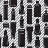 Seamless Pattern With Cosmetics Bottles Stock Photos