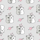 Seamless Pattern With Cute Animals, Hearts And Love Doodles Royalty Free Stock Images
