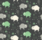 Seamless Pattern With Cute Baby Buffaloes And Native American Sy Royalty Free Stock Photos