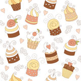 Seamless Pattern With Cute Cupcakes Royalty Free Stock Image