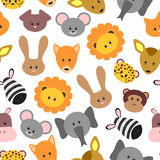 Seamless Pattern With Cute Pet And Wild Cartoon Animals Royalty Free Stock Photography