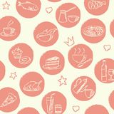 Seamless Pattern With Doodle Food And Drinks Royalty Free Stock Photos