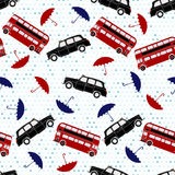 Seamless Pattern With Double-decker Buses, Taxi And Umbrellas Un Royalty Free Stock Photos