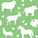 Seamless Pattern With Farm Animals Silhouettes Stock Photos