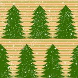 Seamless Pattern With Fir Trees And Stripes Stock Photography