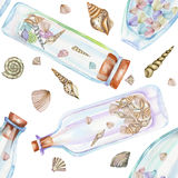 Seamless Pattern With Florariums, Watercolor Bottles With Sea Shells Inside Royalty Free Stock Photos