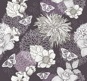 Seamless Pattern With Flowers And Butterfly Stock Photography