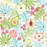 Seamless Pattern With Fruits And Flowers Stock Photo