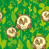 Seamless Pattern With Funny Big-eyed Owl On A Green Background. Vector Stock Images