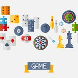 Seamless Pattern With Game Icons In Flat Design Royalty Free Stock Photography