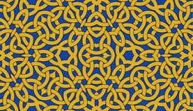 Free Seamless Pattern With Golden Celtic Knot Ornament On Blue, Background Royalty Free Stock Image - 103353396