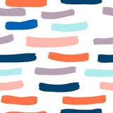 Seamless Pattern With Hand Drawn Brush Strokes And Stripes Hand Painted Stock Images