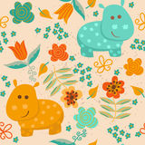 Seamless Pattern With Hippo And Flowers. Stock Images