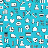 Seamless Pattern With Icons Of E-Commerce, Shopping Symbols Royalty Free Stock Photography