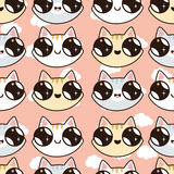Seamless Pattern With Kawaii Kittens. Seamless Pattern Of Cute Cartoon Cats, Dif Stock Photo