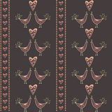 Seamless Pattern With Kissing Birds And Hearts