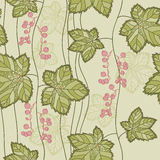 Seamless Pattern With Leaves And Berries Royalty Free Stock Image