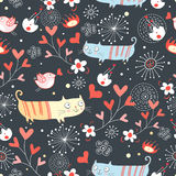 Seamless Pattern With Lovers Cats And Birds Royalty Free Stock Photos
