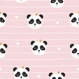 Seamless Pattern With Panda Princess  Vector Illustration Royalty Free Stock Image