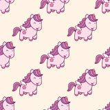Seamless Pattern With Pegasus In Kawaii Japanese Style Isolated On Beige Background. Stock Image
