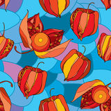 Seamless Pattern With Physalis Or Cape Gooseberry In Red And In Orange On The Blue Mosaic Background