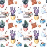 Seamless Pattern With Potted Cactuses, Coffee Cups, Candles, Books And Knitting. Stock Images