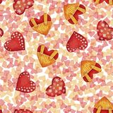 Seamless Pattern With Red And Gold Watercolor Hearts Stock Photo
