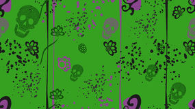Seamless Pattern With Skulls & Flower Stock Image