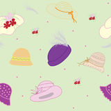Seamless Pattern With  Summer Hats