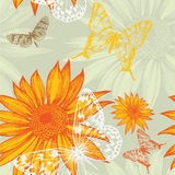 Seamless Pattern With Sunflowers And Butterflies, Royalty Free Stock Photo