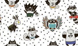 Free Seamless Pattern With Superhero Animals. Vector Cartoon Illustration Stock Photography - 79087772