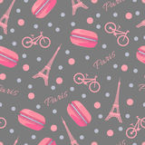 Seamless Pattern With Tasty Macaroons, Eiffel Tower, Paris, Bike And Dots Royalty Free Stock Photography
