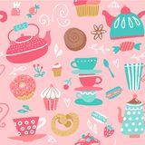 Seamless Pattern With Tea Kettles. Cups, Sweets, Candies. Food And Drinks. Hand Drawn Vector Background Made In Cartoon Flat Style Royalty Free Stock Photography