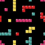 Seamless Pattern With Tetris Elements Royalty Free Stock Image