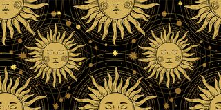 Free Seamless Pattern With The Golden Sun On A Black Background, Galaxies And Stars. Mystical Ornament In The Old Vintage Royalty Free Stock Images - 182835249
