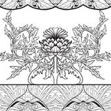 Seamless Pattern With Thistle Flower, Background In N Art Nouveau Style, Vintage, Old, Retro Style.n Stock Images